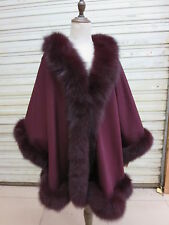 Real cashmere Fox fur  Poncho Cape/Coat Elegance Oversize Fit all Wine red