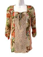 NEW Meadow Rue Womens Sheer Lace Trim Boho Tunic Top size XS Anthropologie
