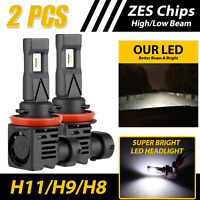 H11/H8 120W ZES Chip LED Headlight Kit Low Beam Bulb Super Bright 6500K 24000LM