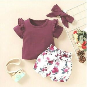 baby clothing size 0-3m to 12-18 months burgundy red rose top,shorts & headband