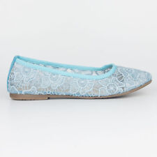 Tamaris Trend Women's Sky Blue Embroidered Mesh Ballerina Low Heel Shoes