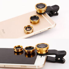 3 in1 Universal Fisheye Macro Wide Angle Clip Lens Kit For iPhone Samsung Tablet