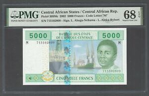 Central African States 5000 Francs 2002 P309Md Uncirculated Graded 68 Top Pop