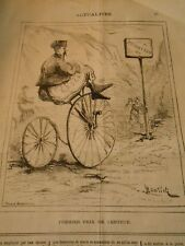 Caricature 1872 - Vélocipède Grèce Premier prix de Lenteur