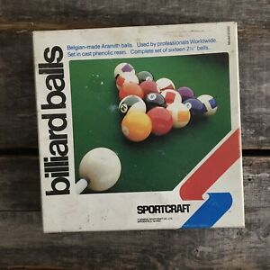 Vintage Belgian Made Aramith Billiard Ball Set In Box Sportcraft & Triangle Rack