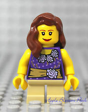 NEW Lego Female GIRL MINIFIG w/Gold & Purple Torso - Tan Short legs & Brown Hair