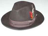 Men's Hat By MONTIQUE Soft Crushable Fedora Light Wool Felt Snap Brim H-08 Brown