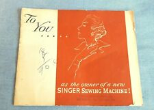 Original Singer Sewing Machine Vintage 1950's Advertising Pamphlet Brochure
