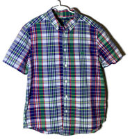 Ralph Lauren Big Boys Shirt Button Down Short Sleeves Red Plaid Size Large 14-16