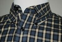 Joseph & Feiss Men's XLT Navy Blue Plaid Button Down Shirt 100% Cotton Non-Iron