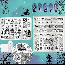 12Pcs Halloween Series Nail Stamping Plates Pumpkin Stamper Scraper Nail Art Kit