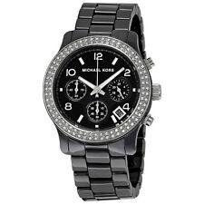 Michael Kors MK5190 Black Ceramic Chronograph Runway Glitz Women Wrist Watch