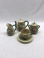 Japanese Porcelain Ceramic Tea Set 5 Piece Handpainted Vintage