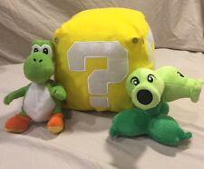 Lot of (3)Nintendo Super Mario Plush Toys - Yoshi, Fireflower & Coin Box