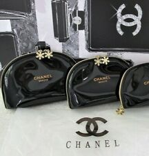 Chanel Black Beaute DESIGNER Snowflake Cosmetic Makeup Bags 2 x Sizes VIP Gift