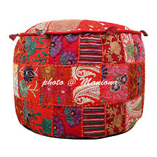 Patchwork Ethnic Ottoman Footstool Bohemian Pouffe Cover Indian Sari Pouf 22Inch