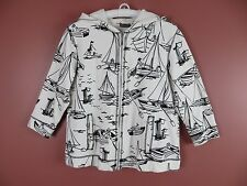 CJ0421- CHICO'S Woman 95% Cotton Hooded Zip Jacket Black White Artwork 2 SHORT L
