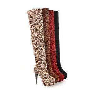 Ladies Shoes Leopard Faux Suede High Heels Platform Over Knee Boots UK Size b018