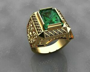 DESIGNER Green Colombian Emerald MEN'S RING In 18K Yellow Gold Over Free Sizable
