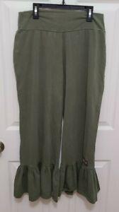 MATILDA JANE Olive Green Big Ruffles Stretch Flare Wide Crop Pants Size Large
