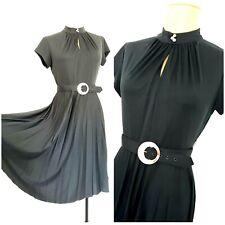 Vintage 70s Black Accordion Pleated Dress Size Medium Fit & Flare Cocktail Party