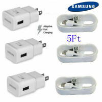 OEM Samsung Galaxy S6 S7 Note 4 Note 5 Fast Charging Wall Charger + 5 FT Cable