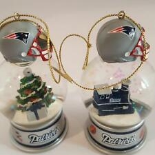Danbury Mint New England Patriots Snow Globe 2 Ornaments Xmas Tree Train Nfl