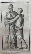 Mother and Child Statue by Claude Randon Framed Antique Copper Engraving