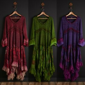 New Long Sleeve Patchwork Dress Bohemian Pagan Clothes Up To Plus Size