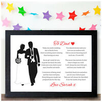 Personalised Father of the Bride Keepsake Poem Father of the Bride Dad Gifts