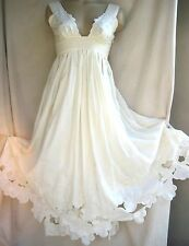 Catherine Maladrino sundress XXS off white beach Wedding floral embroidered hem