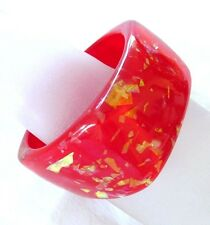 LARGE AND WIDE CHUNKY RED WITH GOLD  LUCITE PLASTIC BANGLE BRACELET NICE