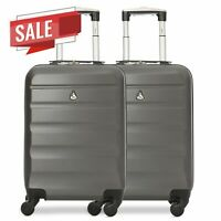 Ryanair 55 x 35 x 20cm Set of 2 ABS Hard Shell Carry On Cabin Bag | Charcoal