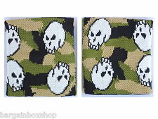 12a3de7588c0 Pair of Camo Skull Army Design Wrist Sweatbands Wristbands Exercise Running  Gym