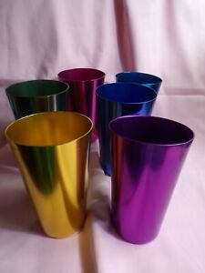 Vintage Colored Aluminum Drinking Glasses Set of 6 VERY RETRO!!