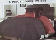 Queen 5 Piece Quilt Queen Burgundy and Black Reversible Coverlet Set