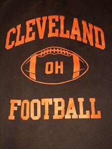 CLEVELAND OHIO FOOTBALL VINTAGE CREW NECK SWEATSHIRT MEN XL BROWN Orange Letters