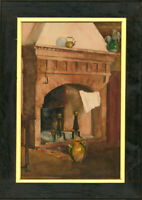 Framed Early 20th Century Watercolour - The Fireplace