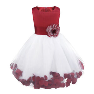 Flower Girls Petals Bow Dress Princess Pageant Wedding Bridesmaid Party Gowns