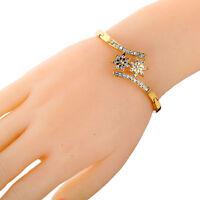 Pretty Gold Plated Crystal Flower Shape Symmetrical Bangle Bracelet Gift Lady ~
