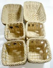 6 pcs Weaving Basket Hampers Tray Wicker Handmade Water Hyacinth Lattice Woven