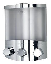 Euro Croydex Aviva Trio Chrome Soap Shampoo Triple Bathroom Shower Dispenser
