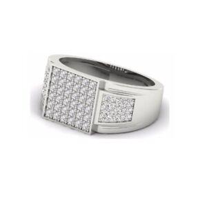 0.22Ct White Round Cut Diamond Men's Engagement Wedding Ring 925 Sterling Silver