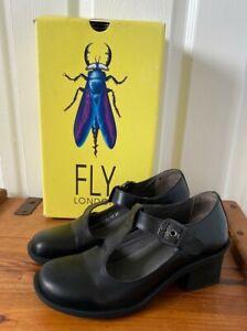 WORN TWICE FLY LONDON BLACK MARY JANE WEDGE HEEL SCHOOL OFFICE SHOES 37 UK 4.5