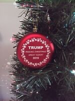 President Trump 2019 Shatterproof MAGA Christmas Tree Ornament RED