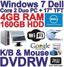 """Windows 7 dell core 2 DUO Desktop PC Computer - 4gb RAM - 160gb - 17"""" TFT"""
