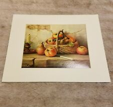 Still life Apples Robert Chailloux Basket Candle Lithograph Picture Cottage