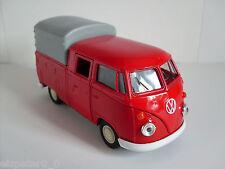 VW T1 DOKA rot, Pritsche mit Plane + Spriegel , Welly Auto Modell ca.1:38, Neu