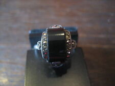Rare art deco bague onyx Markasit 935er argent ring sophistiquée taille