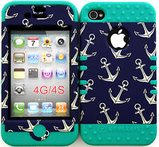 Hybrid Silicone Cover Case Skin IPHONE 4 4S Anchor Pattern on Dark Blue/Teal